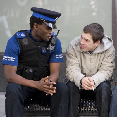 PPCSO talking to man