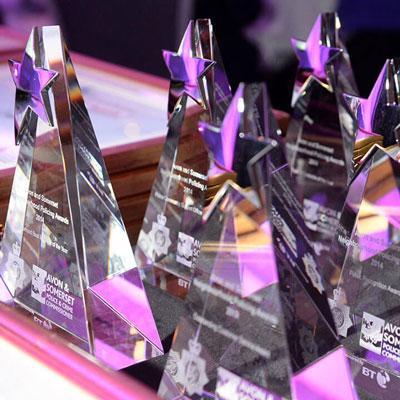 awards on a table